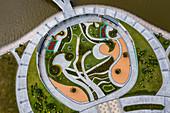 Aerial view of parkland near Royal Barge and Omar Ali Saifuddien Mosque, Sungai Kedayan, Bandar Seri Begawan, Brunei-Muara District, Brunei, Asia