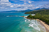 Aerial view of Sheridan Beach with peninsula behind, Cabayugan, Puerto Princesa, Puerto Princesa, Philippines, Asia