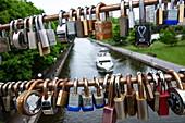 Liebesschlösser hängen an Brücke über den Rideau Canal, Ottawa, Ontario, Kanada, Nordamerika