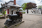 Miniature replica of a locomotive at the historic train station, Kingston, Ontario, Canada, North America