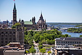 View over city with Parliament Buildings, Ottawa, Ontario, Canada, North America