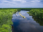 Aerial view of three Le Boat Horizon houseboats on River Tay River, North near Perth, Ontario, Canada, North America