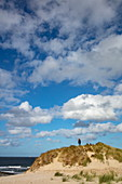 People on sand dunes with a view of the beach and North Sea coast, near Hollum, Ameland, West Frisian Islands, Friesland, Netherlands, Europe