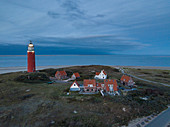 Aerial view of Eierland lighthouse at dusk, near De Cocksdorp, Texel, West Frisian Islands, Friesland, Netherlands, Europe