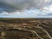 Aerial view of hiking and cycling trails through the dunes of Westerduinen, near Den Hoorn, Texel, West Frisian Islands, Friesland, Netherlands, Europe