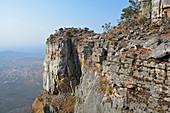 Angola; Namibe Province; on the border with Huila Province; Serra da Leba; steep rock face of Tundavala Gorge; View of the plain behind