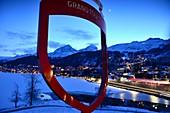 Evening view of St. Moritz Dorf over the lake, Engadin, Graubünden, Switzerland