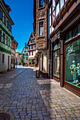 Mohrengasse with a view of the town hall in Schmalkalden, Thuringia, Germany