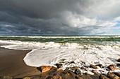 Stormy Baltic Sea in Dahme, Dahme, Baltic Sea, Ostholstein, Schleswig-Holstein, Germany