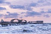 Winter storm at the pier in Kellenhusen Baltic Sea, Ostholstein, Schleswig-Holstein, Germany