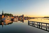 View of Kappeln in the morning light, Kappeln, Schlei, fishing, Schleswig-Holstein, Germany
