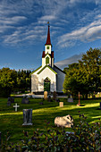 Wooden church with cemetery, Leka island, Norway