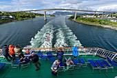 View from the Hurtigruten ship Richard With on Bronnoysund Bridge, Norway