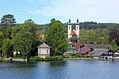 Tutzing with the Brahms pavilion in the foreground, Starnberger See, 5-Seen-Land, Upper Bavaria, Bavaria, Germany