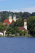 Tutzing, in the foreground the St. Peter and Paul Church, Starnberger See, 5-Seen-Land, Upper Bavaria, Bavaria, Germany