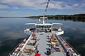 Deck of the excursion steamer in front of the east bank of Lake Starnberg, 5-Seen-Land, Upper Bavaria, Bavaria, Germany