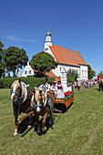 More than 300 horses take part in the Willibaldsritt in Jesenwang. The ride through the church is unique in Europe, Jesenwang, Upper Bavaria, Bavaria, Germany