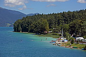 Campsite on the south bank of the Walchensee, Upper Bavaria, Bavaria, Germany