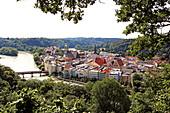 View over the Inn and Wasserburg, Innviertel, Upper Bavaria, Bavaria, Germany