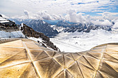 View from construction on Zugspitze platform to the glacier, Grainau, Upper Bavaria, Germany