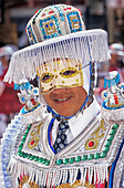 Man wearing traditional costume, Copacabana, Titicaca Lake, Bolivia, South America