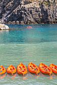People kayaking, Vernazza, Cinque Terre, Liguria, Italy, Europe