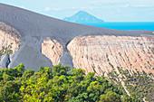 View of Gran Crater and Finicudi Island, Vulcano Island, Aeolian Islands, Sicily, Italy