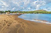 Black sand beach, Vulcano Island, Aeolian Islands, Sicily, Italy,