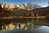 Woman bathing, autumn at the Eibsee, view to the Zugspitze, Werdenfelser Land, Bavaria, Germany