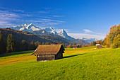 View of the Zugspitze massif with Alpspitze, Zugspitze and Waxenstein, Werdenfelser Land, Bavaria, Germany