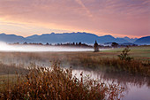 Morning mood with fog, view over the Ach bei Uffing am Staffelsee to the mountain range of the Alps, Bavaria, Germany