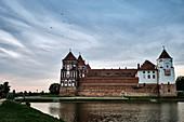 Mir Castle at dusk in the Grodno region, Belarus.