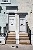 Private residences in Kensington in spring, London UK.