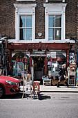 Streetscape of a homewares shop on Portobello Road, Notting Hill, London, UK.
