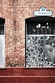 Detail of a windows and street art in hipster area of Leninsky, Vulica Oktyabr'skaya, Minsk Belarus