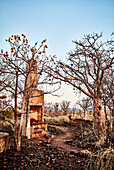 A chimney stands at the ruins of Telegraph Station, Telegraph Hill, Wyndham, The Kimberley, Western Australia, Australia.