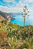 View of Lipari and Vulcano island from Belvedere Quattrocchi, Lipari Island, Aeolian Islands, Sicily, Italy,