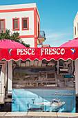 Fresh fish on sale, Lipari Town, Lipari Island, Aeolian Islands, Sicily, Italy,