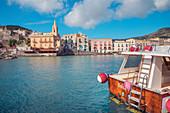 Marina Corta harbour, Lipari Town, Lipari Island, Aeolian Islands, Sicily, Italy