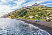 Volcanic beach, Stromboli, Aeolian Islands, Sicily, Italy