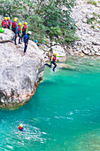 People canyoning in the Gorges du Verdon, Alpes de Haute Provence, Provence, France