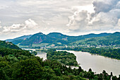 View over the Rhine and the island of Nonnenwerth to the Siebengebirge with Petersbergt, Drachenfels, Ölberg, NRW, Germany
