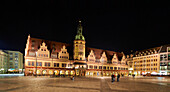 In the evening on the market square with the old town hall and the historic arcades. Leipzig, Saxony, Germany