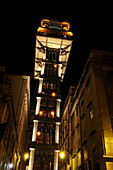 The Santa Justa Elevator in Lisbon at night, Portugal, Europe