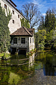 View of the old mill in Polling Monastery in spring, Polling, Weilheim, Bavaria, Germany, Europe