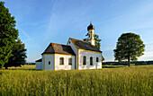 The church of St. John the Baptist near the earth station near Raisting, Weilheim, Bavaria, Germany, Europe