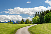 View over the Oberland on a sunny spring day, Weilheim, Bavaria, Germany, Europe
