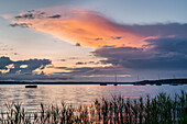 Colorful evening storm clouds at Ammersee, Herrsching, Bavaria, Germany, Europe