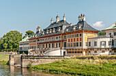 Water palace in the Pillnitz Palace Park near Dresden, Saxony, Germany