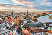 View of the Dresden skyline as seen from the tower of the Frauenkirche, Saxony, Germany
